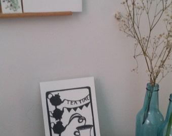 Tea Time Greeting Card Paper Cut Print