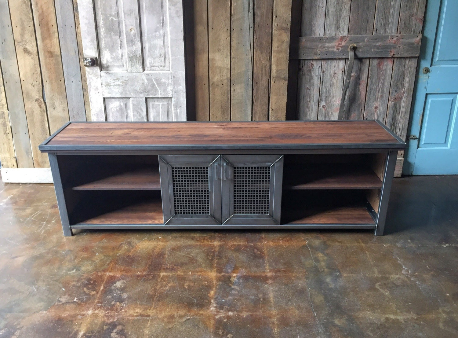 industrial media console reclaimed wood media center modern credenza