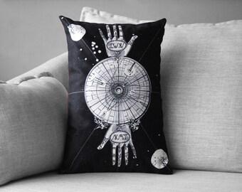 "sacred geometry // palmistry // alchemy art - 14"" x 20"" velveteen pillow case - vintage map"