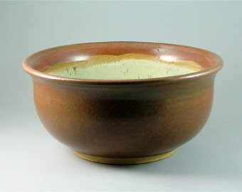 Brick-Red and Cream Pottery Bowl - Wheel-Thrown Serving or Salad Bowl