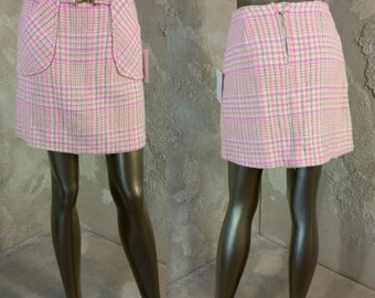 Vintage 60s Mod Plaid Mini Skirt Pink and Multi-Color Pastel Front Pockets and Attached Belt