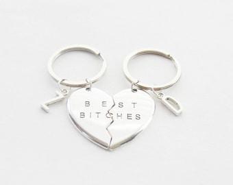 Best Bitches Keychains Set BFF Keychains Large Keychains Best Friend Keychain Broken Heart Keychain Bitch Keychain Name Keychains Initial