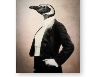 "Penguin Art Print Animal Art Anthropomorphic Animals In Clothes Tuxedo Black & White Photography Wall Decor Bird Print (3 sizes) ""Frederick"""