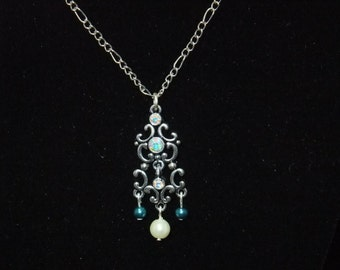 Crystal Necklace with Blue & White Pearls