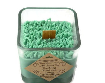 Fresh Cut Grass  Vegan All Natural Soy Woodwick or Cotton Wick Candle with Grass Accents 10 oz.