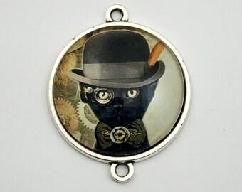 1 steampunk gentleman cat glass connector bronze tone,30mm # CON 331