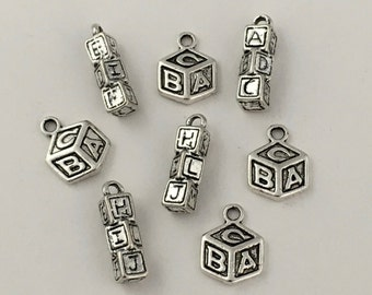 8 baby block toy charms antique silver tone,12 / 17mm #CH 463