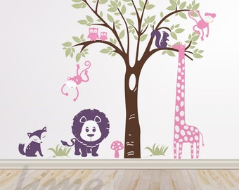 Animals Wall decals- Jungle decals - Nursery Zoo Decal A0035