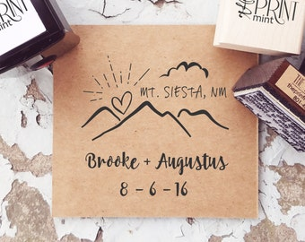 Mountain Wedding Stamp, Rustic Wedding Stamp, Adventure Wedding, Custom Stamp, Wedding Self Inking, Outdoor Wedding   CS-10290