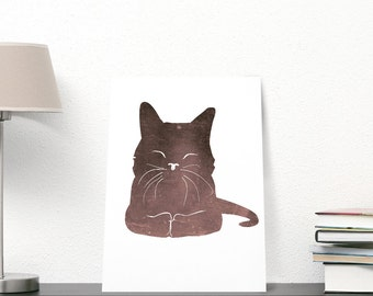 Cute Happy Cat ART PRINT, minimalist kitty drawing, wall art decor, decor housewares, lovely pet illustration, brown cat, decor for children