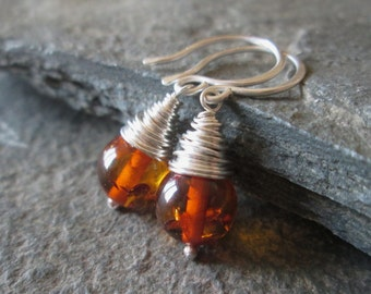 SALE Amber Earrings - Amber Jewellery, Amber Jewelry, Wire Wrap Jewelry, Real Amber, Gift Jewellery, Silver, Gemstone