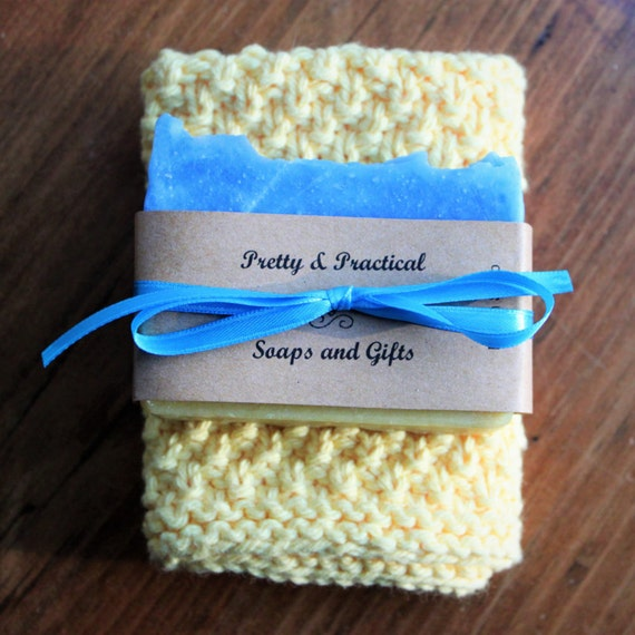 Handmade Beach Soap and 100% Cotton Washcloth Gift Set