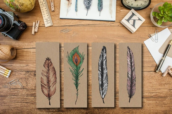 Blank Card Set - Blank Feather Card Set - Blank Greeting Card Set
