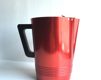 Mid-Century Regal Ware Aluminum Pitcher, Vintage Red Pitcher with Black Handle