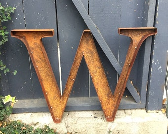 "Quick Ship 22"" Rustic Metal Letter ""W"""