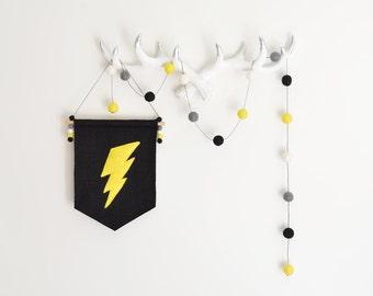 Yellow Grey Black White Garland, Superhero Gender Neutral Nursery Decor, Baby Shower Gift, Felt Ball Pom Pom Bunting, Superhero Party