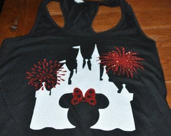Glitter Disney World Castle Tank/Disney World Tank/Minnie Mouse/Mickey Mouse Shirt/Glitter/Disney Tank/