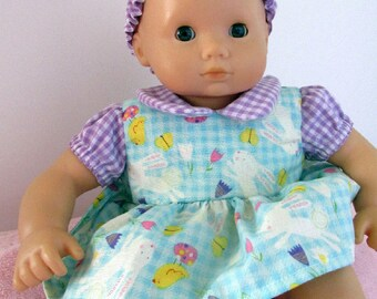 Baby Doll dress, Easter Bunny/Chick doll dress, 15 inch doll romper dress/matching headband, sized to fit baby dolls such as Bitty Baby