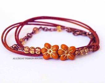 Bohemian Bracelet, Boho Wrap Bracelet, Yellow Orange Flower 3x Leather Wrap Bracelet (6-7 inch)