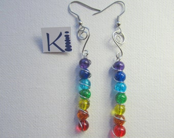 Chakra Energy Earrings Rainbow Stainless steel wire wrapped Pierced or clip on
