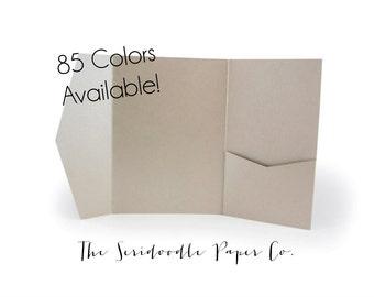 A7 Pocket Invitation Enclosures - 5x7 pocket folder, DIY wedding invitations - 85 colors!