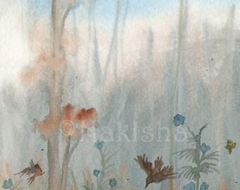Original Watercolor Landscape Painting - Oaks by the Beaver Dam