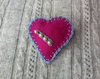 Love Heart Felt Brooch, Hand Stitched Embroidery, Pink and Blue, Beaded.