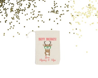 Hipster Reindeer Personalized Christmas Candy and Gift Card Holder Holiday Party Custom Favor Bags