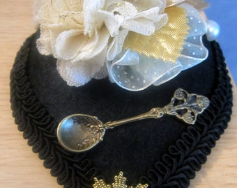 Steampunk Victorian Vintage Style Hair Clip Fascinator tea party teacup spoon