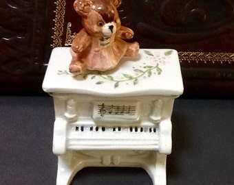 Vintage Teddy Bear  Music Box / Revolving  / By Schmid / 1983 / Porcelain  /  The Entertainer  /  Baby Present / Baby Shower / Collectible