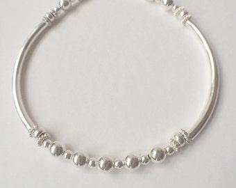 Silver Bead Heart Charm Bangle Bracelet, Sterling Silver Noodle Bracelet,925  Silver Ball Bracelet, Personalised Jewelry, Bridal Jewellery,