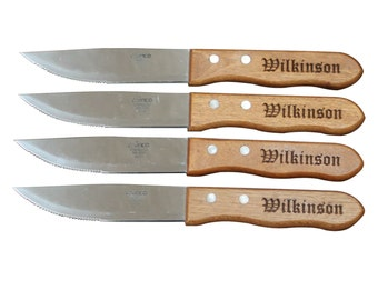Personalized Steak Knives, Steak Knife Set, Groomsmen Gift, Wedding Party Gifts, Personalized Gifts Wood Handle Flatware Groomsman Gift