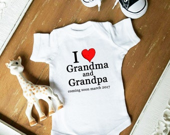 Birth Announcement COMING SOON I love Grandma and Grandpa Baby Neutral Bodysuit by Simply Chic Baby Boutique