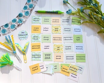 Bible Tabs with Laminating Stickers... BEAUTIFUL DAY set... 66 Books of the Bible... Self Adhesive... Blue, Green, Yellow