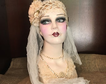 Mannequin Head, Vintage Flapper, 1920's Bride, Hand Painted and Embellished