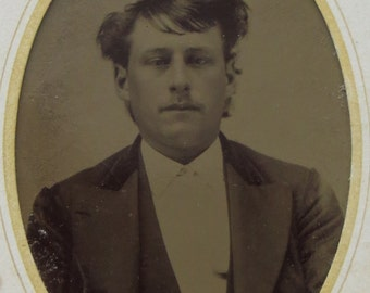 Original 1880's Handsome Young Man Tintype Photograph - Free Shipping