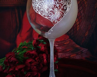 Hand Painted wine glass Love