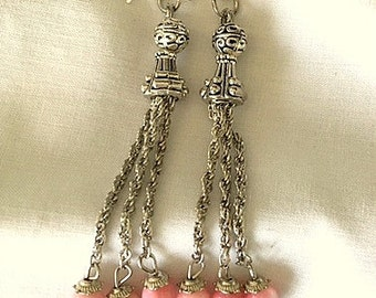 Long Chain and Bead Tassel Earrings - Silver and Black or Pink  - Choice of Wire or Post and Colors