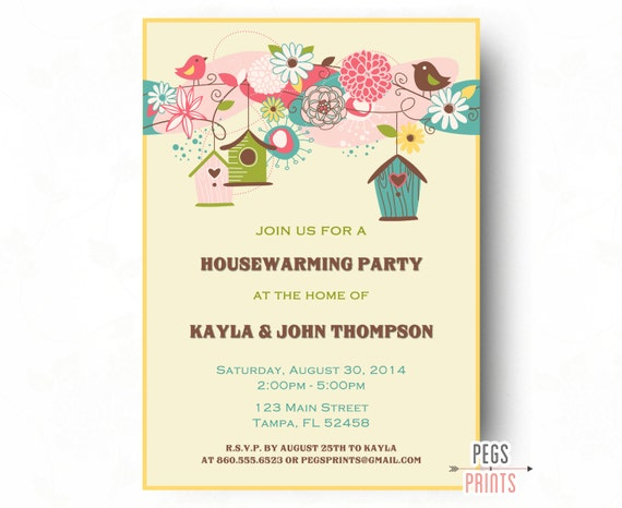 birdhouse housewarming party invitation bird housewarming. Black Bedroom Furniture Sets. Home Design Ideas