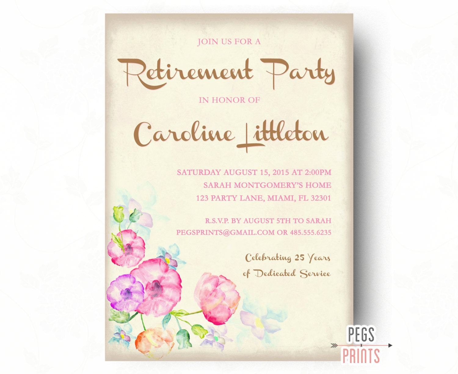 Floral Retirement Party Invitation Retirement Party Invites