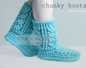 Crochet pattern - chunky boots for women,sizes 36 to 42 EU / 5,5 to 10 US,crochet cables,slippers,socks,loafers,adult slippers,girl
