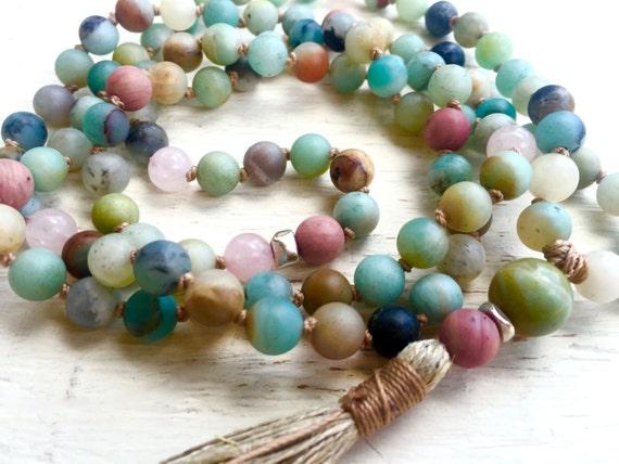 108 Mala Beads, Matte Amazonite, Rose Quartz, Rhodonite, Hand Knotted Mala, Heart Chakra Tassel Mala Japa Mala for Healing, Stress Relief