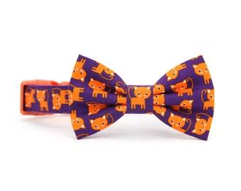 Orange Kitty Dog Bow Tie Collar Purple Animal Dog Bowtie Collar