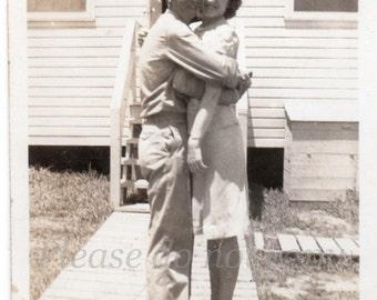 the awkward hug ~ Vintage Snapshot Photo