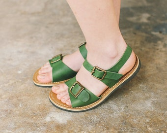 Ankle Sandals, Greenery Sandals, Comfortable Sandals, Summer Flats, Flat Sandals, Leather Flats, Women's shoes, Summer Sandals, Sandals