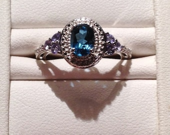 ON SALE - London Blue Topaz and Tanzanite Ring - Sterling Silver Size 7.0