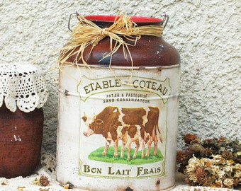 Vintage Style Milk-can-Country Primitive Decor- Farmhouse House Kitchen Decor-Cow Decor-French Country Decor