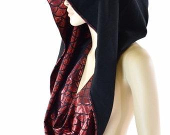 HUGE  Extra Long Red Dragon & Black Zen Cowl Hoodie Festival Rave Clubwear Hood Reversible Hood   -152115