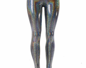 Silver Holographic Metallic Hologram High Waist Lycra Spandex  Leggings 152181