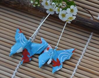 Origami jewelry butterfly paper earrings sky blue paper jewelry drop earrings 1st anniversary gift  koi carp elegant earrings Japanese gift